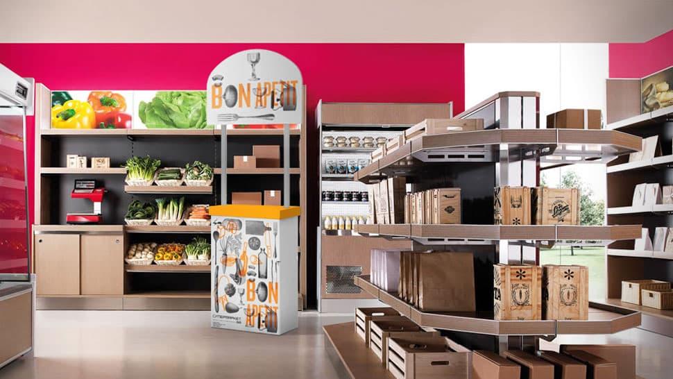 Banchetto in cartone per supermercato  | tictac.it