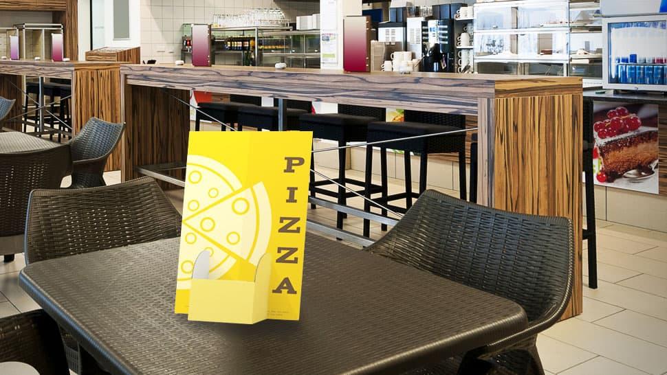 Porta menu in cartone con tasca al centro per pizzerie e ristoranti| tictac.it